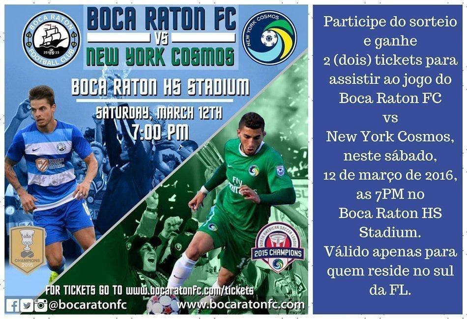 Sorteio de entradas para o jogo do Boca Raton FC vs NY Cosmos