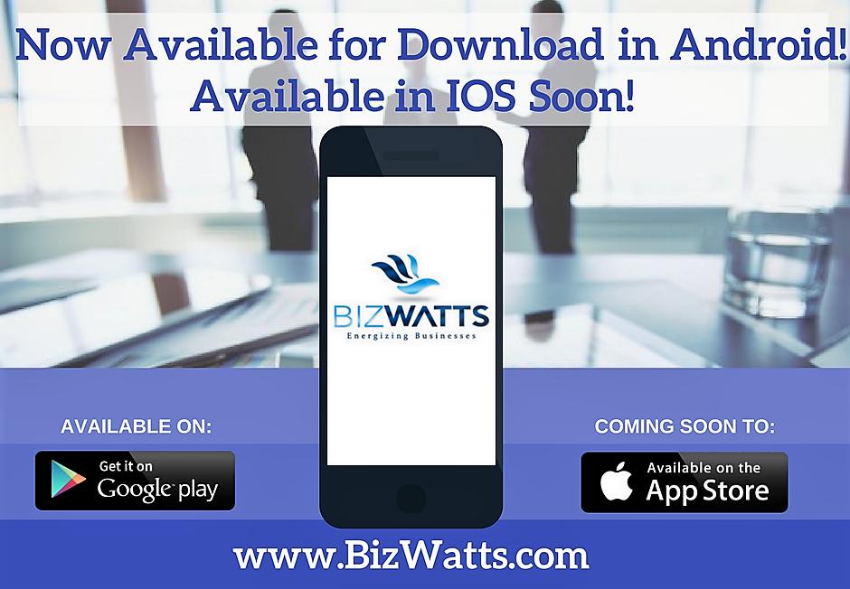 """Lançamento do Aplicativo de Negócios """"BizWatts"""""""